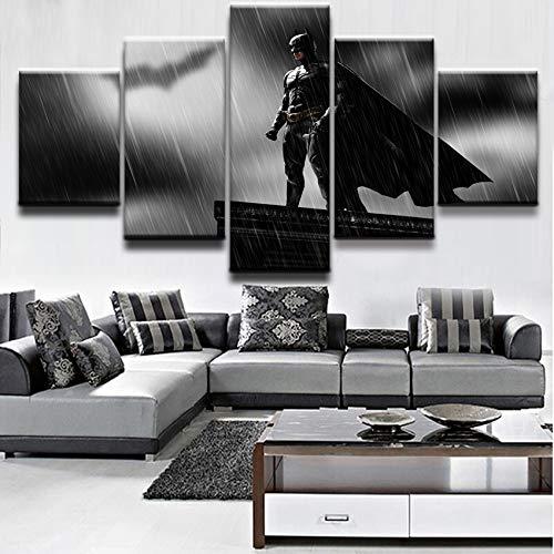 zysymx Accueil Art Mural décoration Moderne Cadre Salon 5 pièces modulaire Image Film Chevalier Noir Batman Affiche Impression Toile Peinture