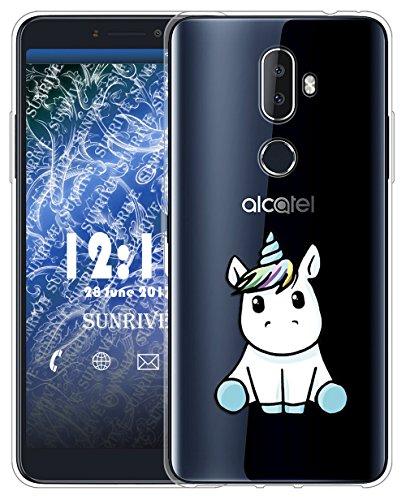 Sunrive Für Alcatel 3V Hülle Silikon, Transparent Handyhülle Schutzhülle Etui Case für Alcatel 3V(TPU Einhorn 3)+Gratis Universal Eingabestift