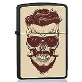 BJJ Mechero Negro, Encendedor de Gasolina con diseño : Calavera Hipster con Gafas de Sol