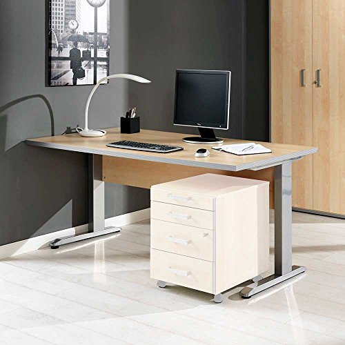 Pharao24 Bürotisch in Ahorn Aluminium Breite 120 cm rechteckige Tischform