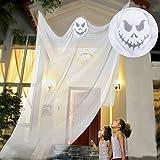 tropicalboy Halloween Deko Gespenst Hängend Gruslig Vorhang Türvorhang mit Geist Ghost Horror Tür Deko (Weiß)
