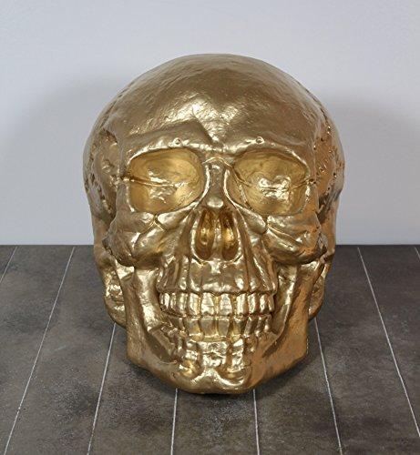 XXL 46 cm Deko Totenschädel Skulptur Totenkopf Kopf Schädel Skelett Skull gold