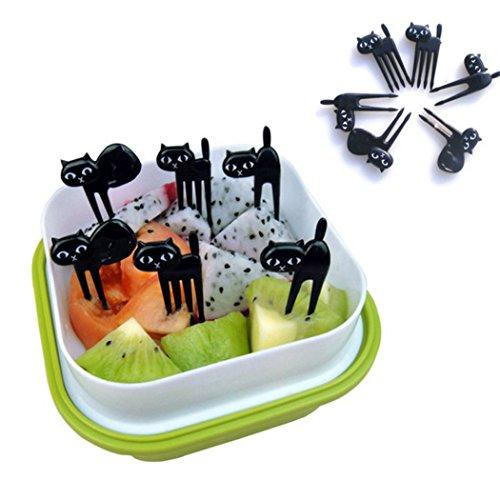 Gudelaa Food Fruit Picks Gabeln Lunch Box Zubehör Dekor Werkzeug, 6pcs Nette Katzen Design