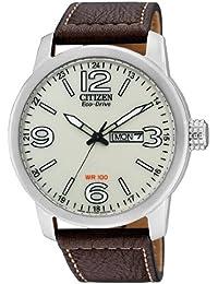 Citizen BM8470-03AE - Reloj analógico de cuarzo para hombre, correa de cuero color marrón