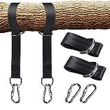 LuLyL 150 cm Tree Swing Hanging Cinghie, Resistente alla trazione Swing Hanging Kit con Serratura di Sicurezza moschettoni Ganci Perfetto per altalene e amache Battle Rope Training-Pack di 2 (Nero)