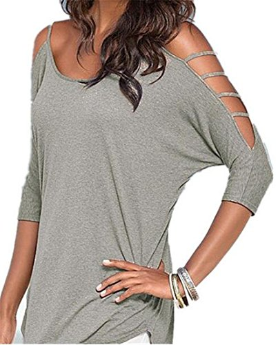 eku-women-sexy-boat-neck-3-4-sleeve-off-shoulder-solid-tee-shirt-l-khaki