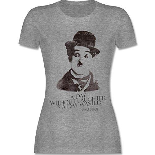 Vintage - Charlie Chaplin - a day without laughter is a day wasted - tailliertes Premium T-Shirt mit Rundhalsausschnitt für Damen Grau Meliert