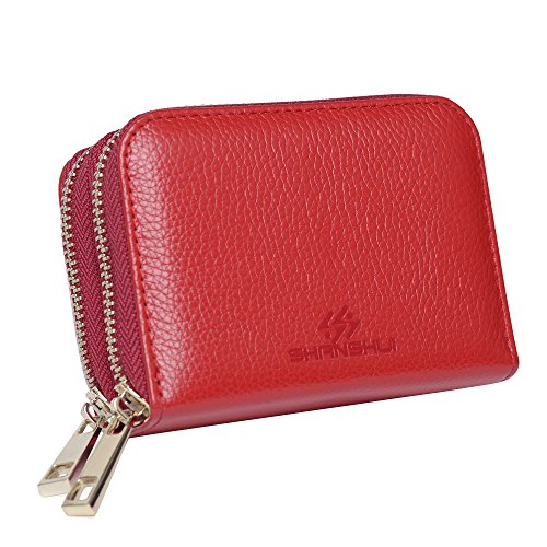 SHANSHUI Ladies Credit Card Holder Real Leather 2 Zipped Organiser with RFID Blocking in Red