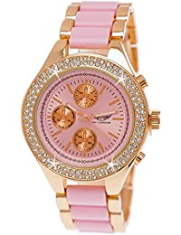 Designer Damenuhr,Exclusive Damen Strass Uhr in Chronograph Optik,Rosa,Rose Gold B81