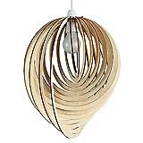 MiniSun – Moderner tropfenförmiger Lampenschirm aus Holz im Spiraldesign – für Hänge- und Pendelleuchte