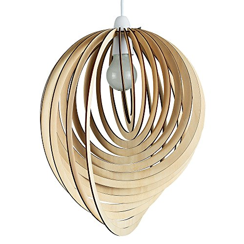 Modern Droplet Shaped Wooden Spiral Design Ceiling Pendant Light Shade