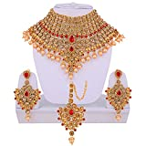 Lucky Jewellery LCT Red Bridal Dulhan Wedding & Engagement Necklace set With Mang Tikka best for bride Gold Red in color