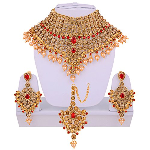 Lucky Jewellery LCT Red Bridal Dulhan Wedding & Engagement Necklace set With...