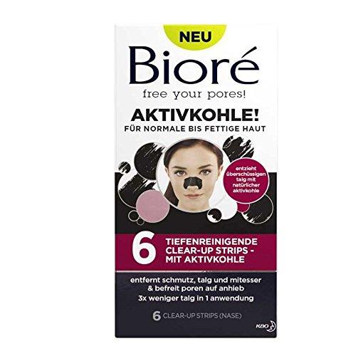 BIORÉ Tiefenreinigende Clear-Up Strips mit Aktivkohle 6 Tiefenreinigende Reinigungspflaster für junge Haut