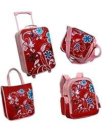 juego de maletas, 3 piezas, de ruedas infantil GERMINI de flores (Trolli + mochila infantil + bolso bandolera) Rosa rojo floral