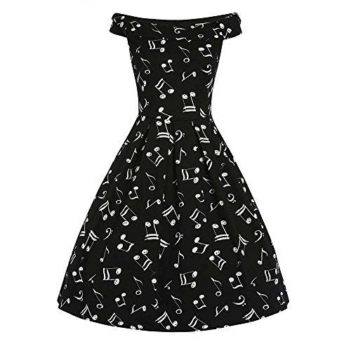Christie Musik lange off-Schulter-Kleid mit Swing-Musik Druck schwarz - Vintage, 50er Jahre, Rockabilly - 3XL / GB46 - Lindy Bop (Lindy Bop Vintage Kleider Schwarz)