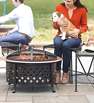 Plow Hearth Lattice Side Fire Pit With Fire Bowl - Copper-finished Steel Bowl And Pained Metal Lattice Frame - 30 Dia X 21h from Plow & Hearth®