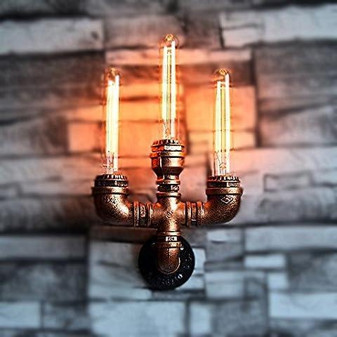 LOFT Retro Industrie-Eisen Handgemachte Wasser-Rohr-Wand-Lampe Kreative Metall 3-Kopf Wandleuchte Bar Restaurant Dekoration E27 High Brightness Beleuchtung (Breite: 22CM)