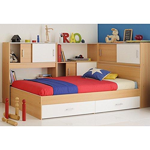 Funktionsbett 90*200 cm weiß / beige inkl. Regale + Bettkästen buche Kinderbett Jugendbett Jugendliege Bett Jugendzimmer Kinderzimmer thumbnail