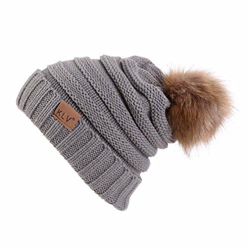 Marque Quistal Femmes Hommes Hiver Chaud Fourrue Tricot Bonnet Tricot Pompon Bonnet Baggy Crochet Ski Chapeau