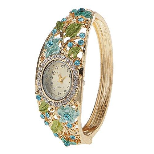 Pulsera de Reloj Flor de Aleación Diamantes de Imitación para Mujeres Regalos de Navidad