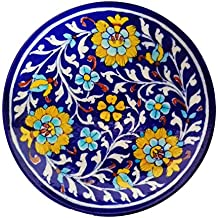 SHIV KRIPA BLUE ART POTTERY Ceramic Handcrafted Wall Hanging Plate (Multicolour, 17 x 17 x 3 cm)