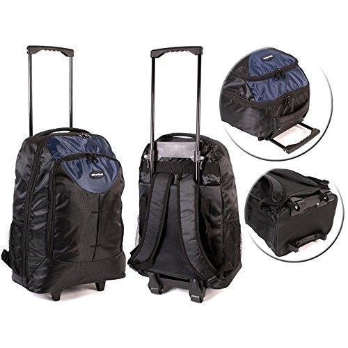 New Herren Damen Rädern Jungen Rucksack Rucksack Schultasche Travel Wheelie UK, blau - navy - Größe: (Suiten Für Jungen)