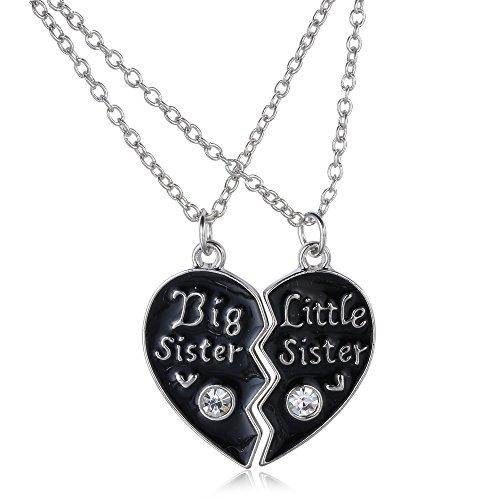 Veuer Big Little Sister 2 Hals-Ketten Mädchen Schmuck für Damen Geschenk zu Weihnachten Kette für die Große und Kleine Schwester mit Strass-stein