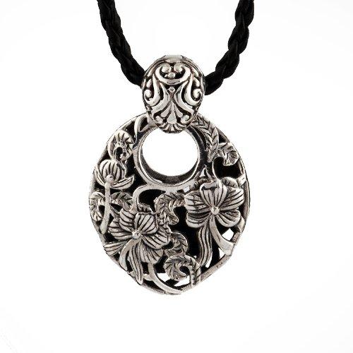 Moontide Lotus Regina Ciondolo in argento Sterling 925collana in vera pelle stile Vintage argento antico