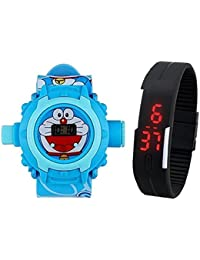 Lemonade Pack Of 2 Kids Favourite Doremon 24 Character Projector Band & Digital Led Bracelet Band For Kids, Children