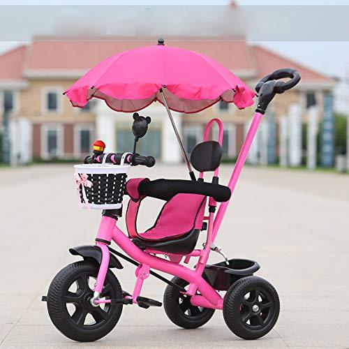 JINHH Dreirad 4 in 1,Kinderdreirad Kinder Fahrrad Kleinkinder mit Lenkbarer Schubstange, Abnehmbarer Sonnendach&Schubstange Dreiräder mit Becherhalter für Jungen und Mädchen ab 12 Monate -5, Pink