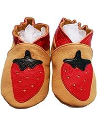 """""""Fraise Melba2"""" de BBKDOM- Chaussons bébé et enfant en cuir souple de qualité supérieure Fabrication Européenne de 0-5 ans"""