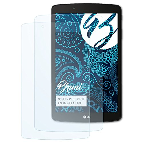 Bruni Schutzfolie kompatibel mit LG G Pad F 8.0 Folie, glasklare Bildschirmschutzfolie (2X)