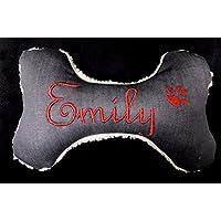 Hunde Spielzeug Kissen Knochen Hundeknochen Quitscher grau Name Wunschname Größe XS S M L oder XL
