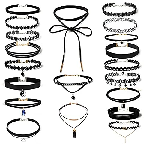 Aitos 20 pièces Black Charm Choker Set Colliers pour femmes Filles