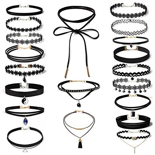 Aitos Gothic Vintage Choker Halsketten Set Tattoo-Kette Schmuck-Sets mit Anhänger Lace-up Diverse Halskette für Damen (Schwarz 20PCS)