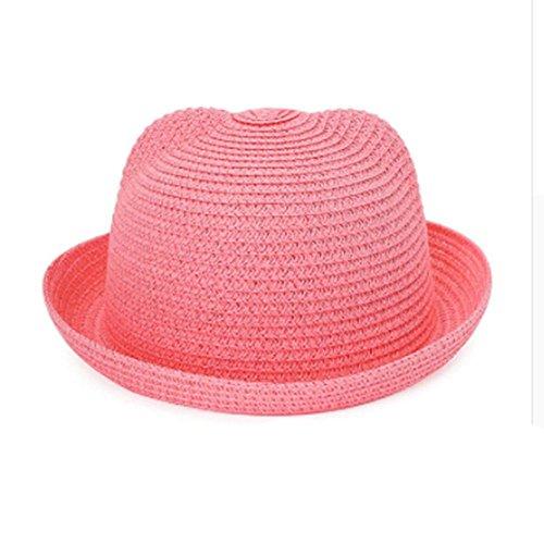 rohhüte Kinder Charakter Ohr Dekoration Sommer Kappe Baby Sonnenhut für Mädchen Jungen Solide Eimer Kappe für Kinder Strand Hut (Kinder-eimer Hüte)