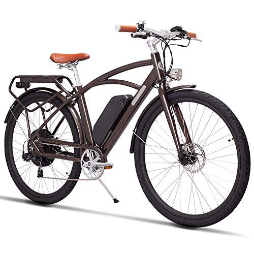 Qnlly Elektrofahrrad 48 V 500 Watt Hochgeschwindigkeitsmotor Elektrische Rennrad Retro Ebike Leichte Rahmen, Aluminiumlegierung Federung Gabelbremse Tektro Doppelscheibenbremse