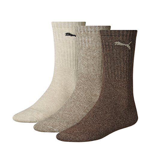 Puma - Unisex Sport Socken 3er Pack, Mehrfarbig (Chocolate/Walnut/Safari), 43-46 (Pack Boot Sock Herren)