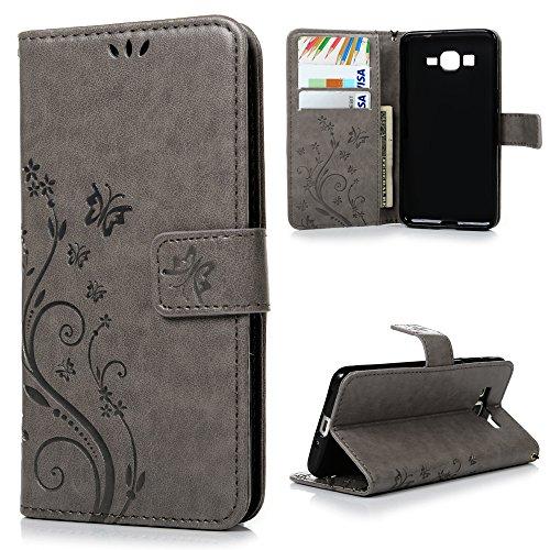 Funda para Samsung Galaxy Grand Prime G530H G5308 Funda, YOKIRIN View Cover Cáscara Flip PU Piel cuero Ultra Slim Wallet Book Style Magnética Función de Soporte Protective Case Protectora -gris