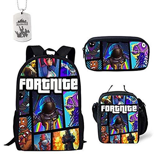 Sac à dos d'école de Fortnite, voyage de sac à dos d'étudiant, sac à dos de sac à dos occasionnel avec le sac d'épaule et le sac de crayon pour des ga...