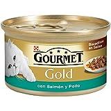 Gourmet Gold Alimento para Gato, Húmedo, Bocaditos en Salsa con Salmón y Pollo - 85 g
