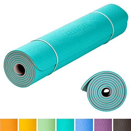 Yogamatte KeenFlex - Sehr bequem 6 mm dick und rutschfest Ideal für Yoga Pilates Gymnastik und Fitness Umweltfreundlich & recycelbar (Türkisblau)