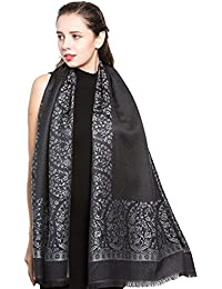 World of Shawls Reversible/Two Sided Print Self Embossed Pashmina Feel Wrap Scarf Stole Scarves Shawl