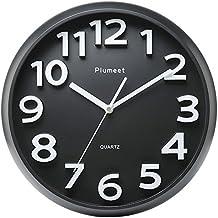 Reloj de pared grande de 33 cm, relojes de Plumeet decorativos de cuarzo silencioso que no hace tictac, estilo moderno bueno el hogar, la cocina, el dormitorio, sala de estar, gran pantalla de números tridimensionales, con pilas (negro)