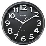 Plumeet Grande Horloge Murale DE 33 cm, Horloges Décoratives silencieuse en Quartz, Style Moderne, Excellente pour Cuisine, Salon, Chambre à Coucher, Bureau. Grand Affichage 3D, à Piles (Noire)