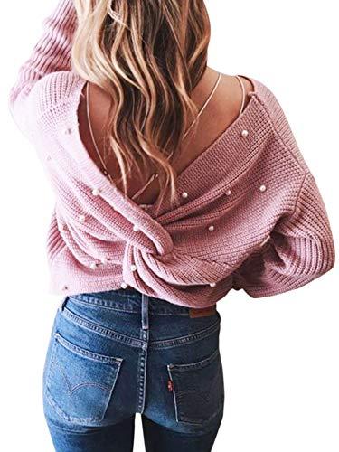 MsLure Damen Pullover Elegant Kreuz V-Ausschnitt Rückenfrei Perlen Gestrickte Sweater Rosa