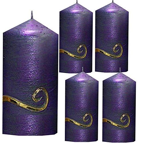 Weihnachten Kerzen Set 4 Stück Stumpenkerzen Adventskerzen 100x50 Dekokerzen Kerzen für Adventskranz Tischkerzen lila mit Ornament gold andere Farben möglich IW16
