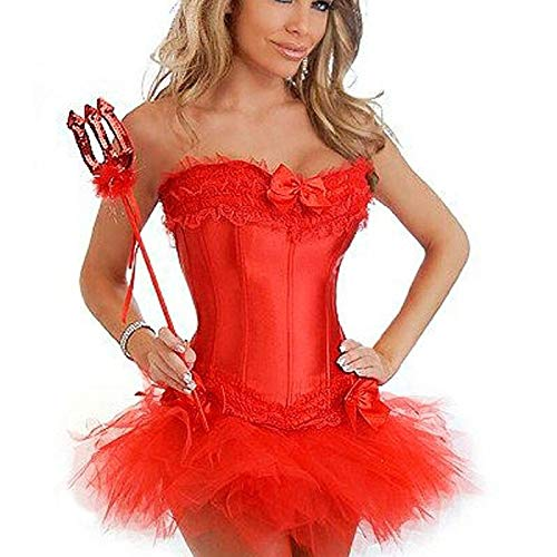 Korsett-typ (XUDSJ Halloween,Lack Kleid,hexenkostüm, Halloween Scary Kostüm Korsett Dress Up Dress Halloween Kostüm Party Dekoration (Color : Red, Size : L))