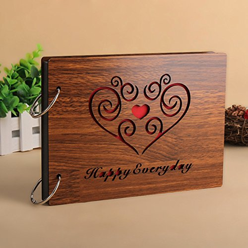 cm personalisierbares Scrapbuch, Fotoalbum mit schwarzen Seiten, aus Holz happy everyday (Happy Halloween Foto-karten)